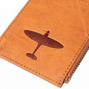 spitfire debossed onto cardholder aviation lovers gift