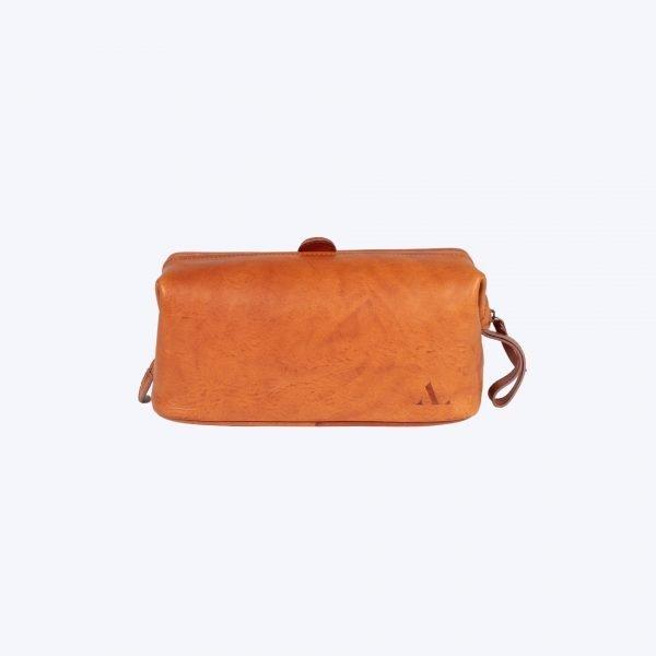 asali leather tan wash bag