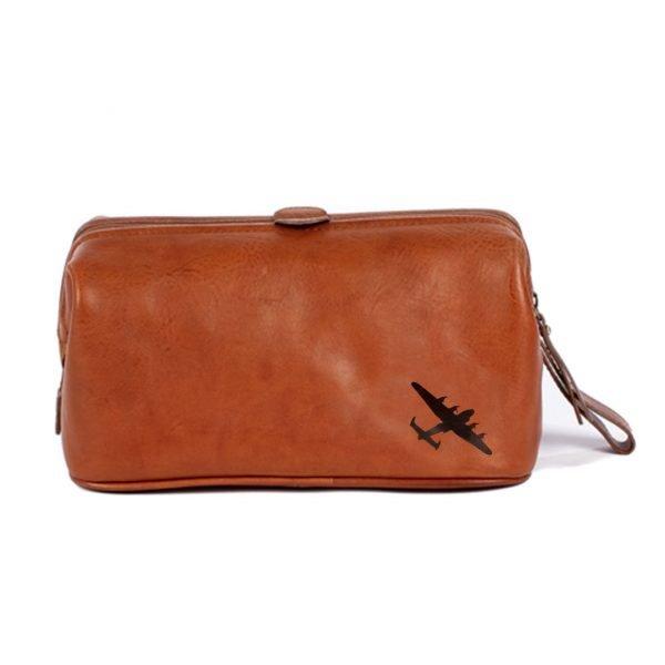 Lancaster bomber gift leather wash bag