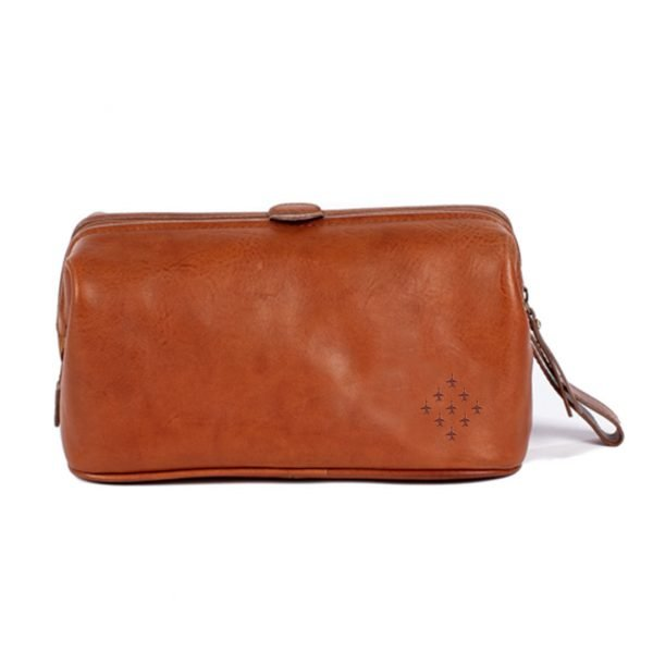 Red Arrows Diamond 9 wash bag italian tan leather toiletry bag gifts for aviation fan