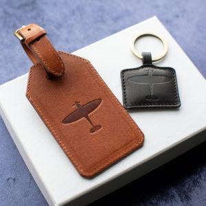 spitfire gifts spitfire personalised lugagge tag and keyring in leather