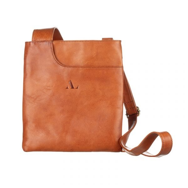 cross body bag with long strap italian tan leather asali