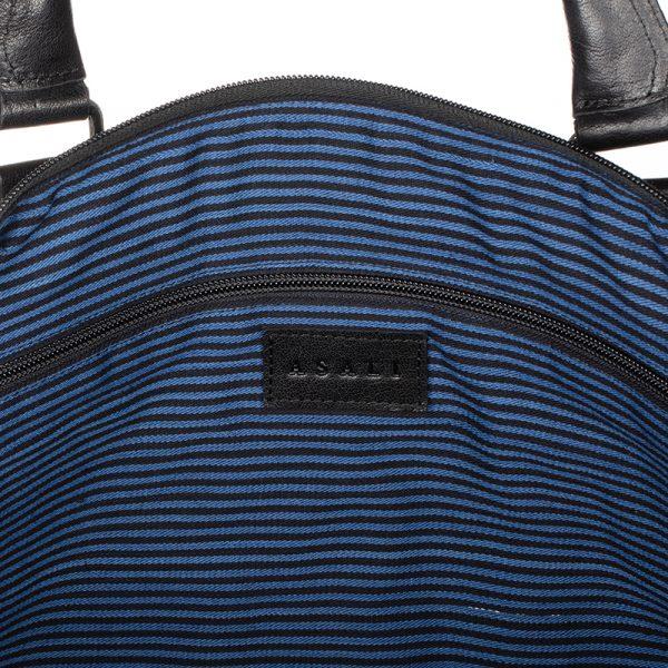 inside of black weekend travel bag asali designs