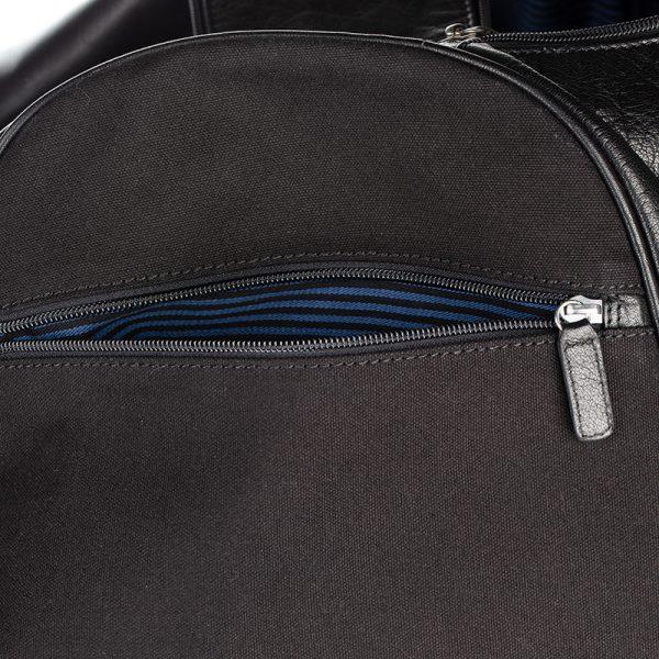 side external pocket on black travel bag asali