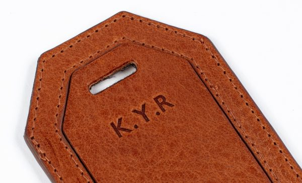 personalisation on leather luggage tag