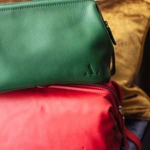 green and red leather wash bags christmas gift ideas