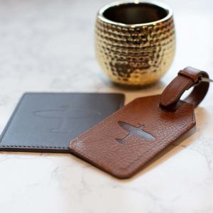 spitfire leather coaster and luggage tag