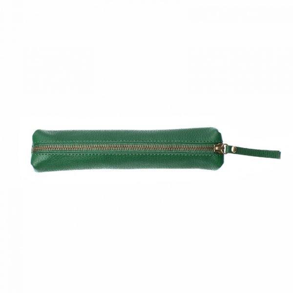 green leather slimline case pencil case