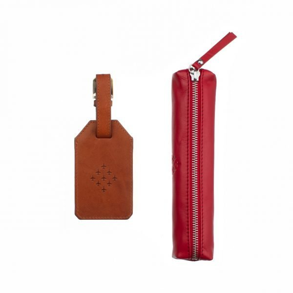 red arrows leather tag and pencil case