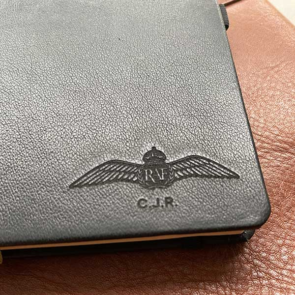 personalised raf wings leather notebook